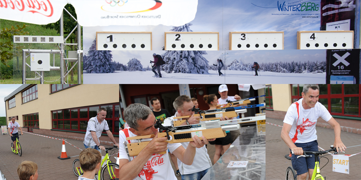 Tretroller‐Biathlon beim Mission Olympic Finale in Rosbach / Hessen