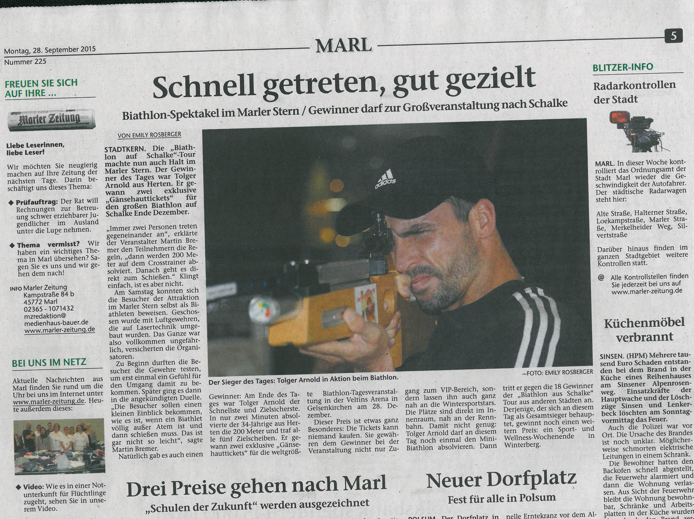 Nachbericht in der Marler Zeitung