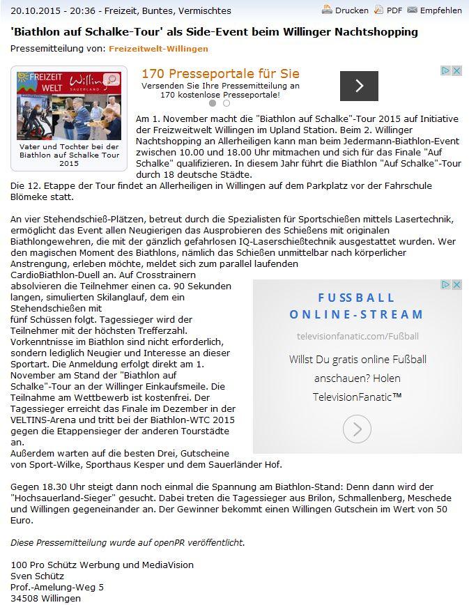 Vorbericht openpr.de