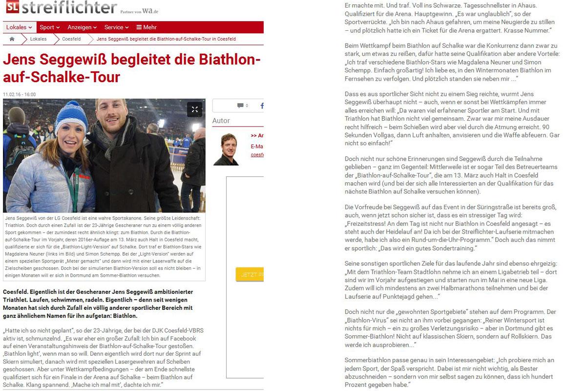 Streiflichter über Finalist Jens Seggewiß