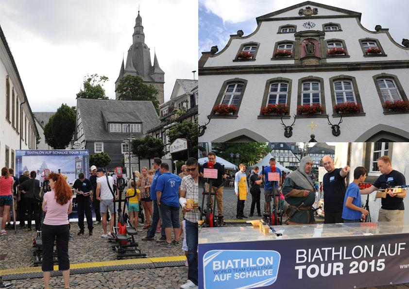 Eine großartige Kullisse bietet der historische Marktstadt der Hansestadt Brilon  während seines Altstadtfestes der 5. Etappe der Biathlon auf Schalke-Tour. Unmittelbar angrenzend an das ehrwürdige  Rathaus war in und an der Biathlonarena von 14 bis 21 Uhr viel los. Bild unten rechts: Waffenexperten unter sich. Klaus Kremer, Entwickler der IQ-Laserschießtechnik, zeigt dem Briloner Ritter, wie man sich friedlich, sportlich bei der Biathlon auf Schalke-Tour duellieren kann.