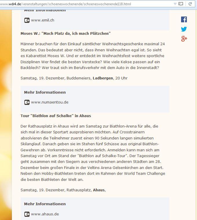 Ankündigung bei WDR4
