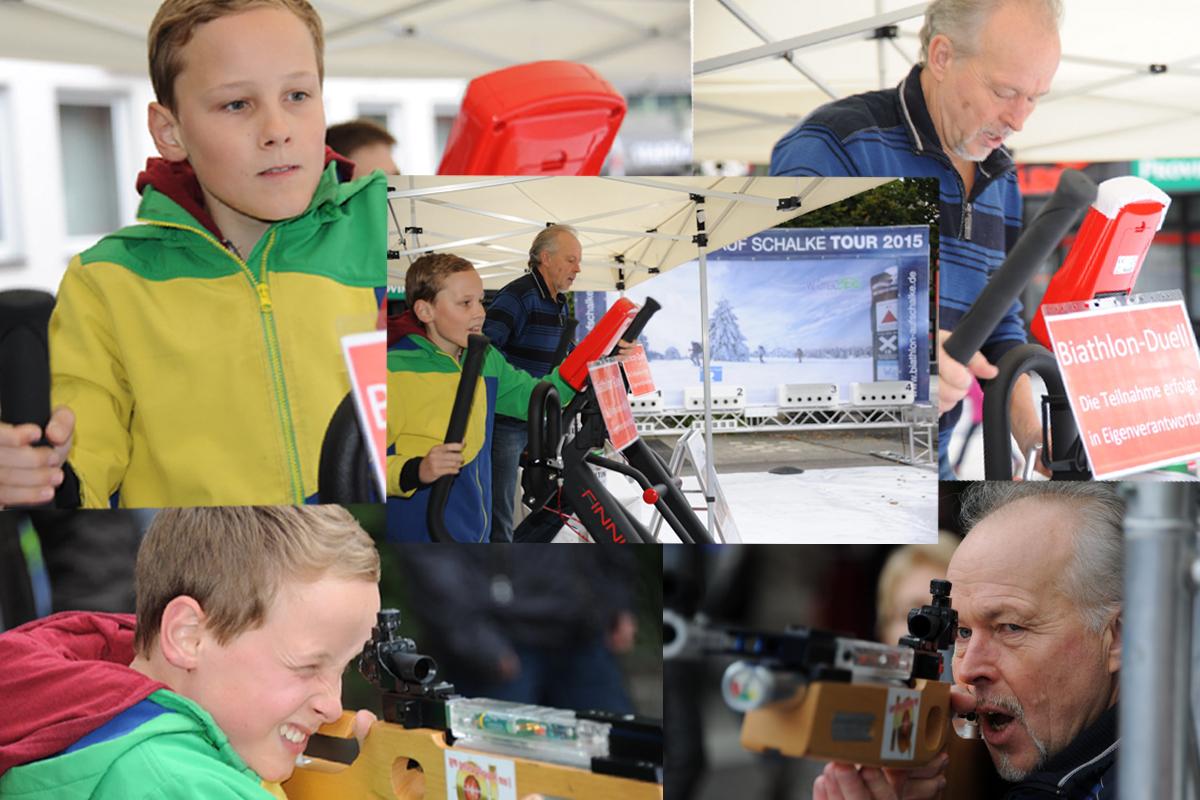Generationenduell im Tageswettbewerb. Sport und Spiel: Ob mit oder ohne Ehrgeiz, die Tour bietet Raum für das persönliche Biathlonerlebnis