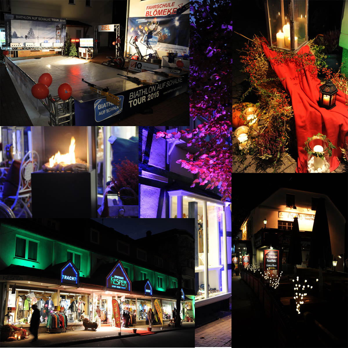 Mittlerweile legte sich die Dunkelheit über Willingen und das fest der 1000 Lichter nahm seinen Lauf. Einzelhandel, Gastronomie und die zahlreichen Hotels spielten kreativ mit Lichtelementen an Fassaden und in den Räumen. Auch die Biathlonarena erstrahlte im Glanz des Lichtes.