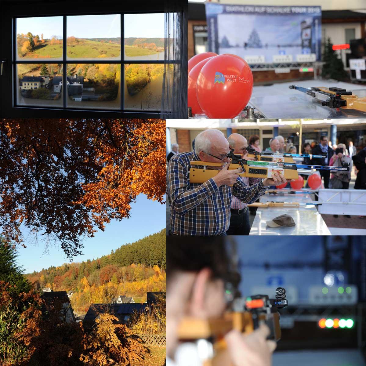 Wie könnte ein Etappenmorgen schöner beginnen, als mit blauem Himmel und goldener Herbststimmung im Upland. Die Freizeitwelt Willingen hatte uns eingeladen, eine Etappe der Biathlon auf Schalke-Tour während des Allerheiligeneinkaufs und dem Fest der 1000 Lichter zu veranstalten. Und es wurde ein phantastischer Tag.
