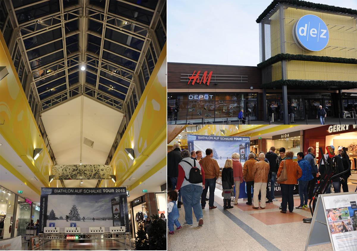 Schon beim Aufbau der Biathonarena in der gepflegten Ladenstraße des dez Einkaufszentrums, mit seiner beeindruckenden Glasdachkonstruktion, erfasst uns Vorfreude auf das bevorstehende Zweitagesevent. Obwohl das dez zu den Shoppingcentern der ersten Stunde in Deutschland gehört, macht es einen höchst modernen Eindruck. An zahlreichen Details wird hier greifbar, dass das Konzept Shopping-Center in Kassel ein Erfolgsprojekt ist. Einkaufen wird hier zum exklusiven Erlebnis. Später am Tag, als es voll wird an und um die Biathlonarena, erfahren wir in Gesprächen mit den Teilnehmern, dass viele auch Anfahrten von 30 - 70 km nicht scheuen, um einen Einkaufstag im dez zu erleben.