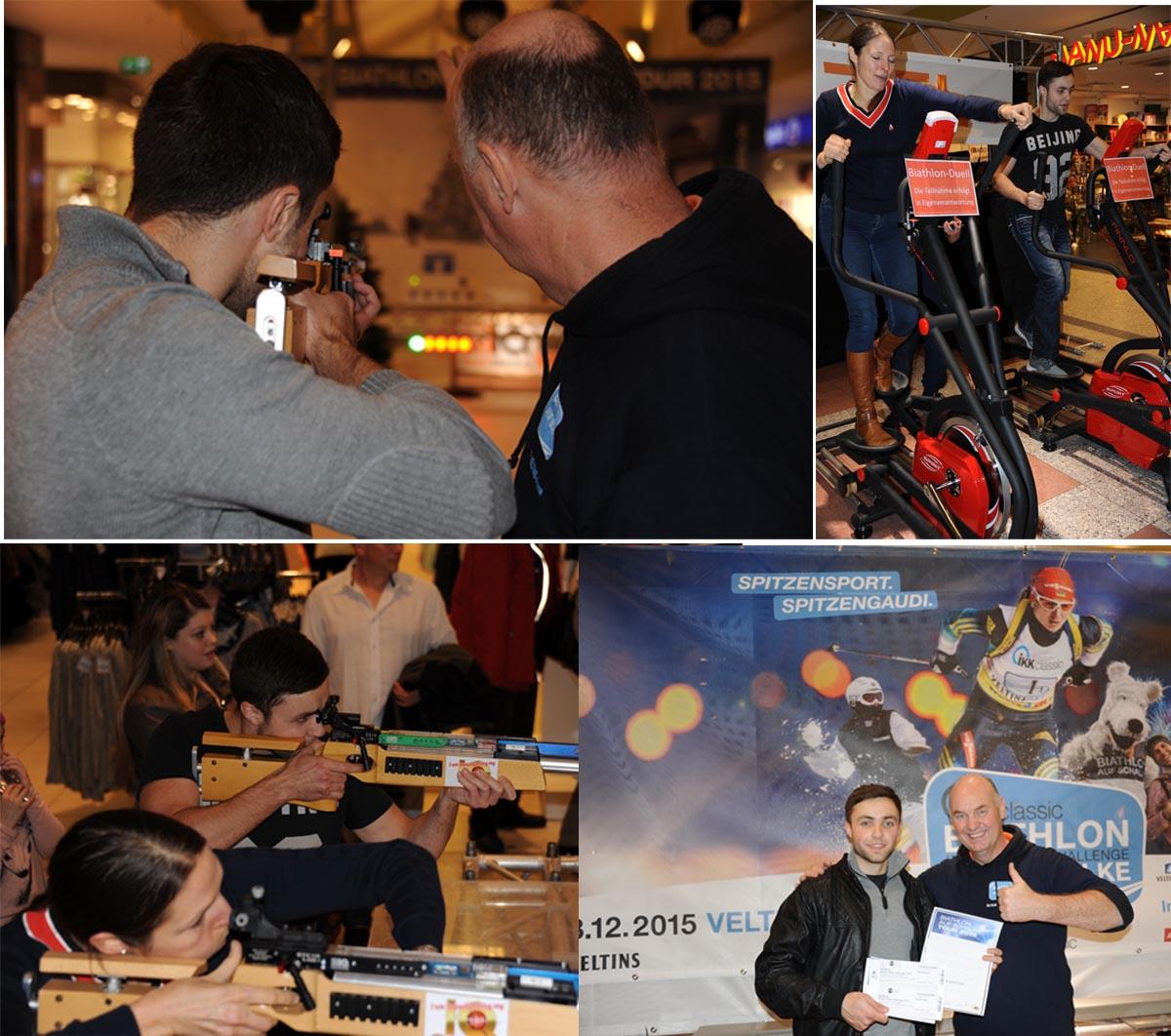 Bis 18 Uhr am Samstagabend hält sich Biathletin Lena Heere an der Etappenspitze und sieht schon wie die erste EtappensiegerIN der Biathlon auf Schalke-Tour aus, da kommt mit Nikolaj Plischke, dem Polizist in Ausbildung, noch der ehrgeizige Teilnehmer, der ihr im letzten Moment den Etappensieg entreisst. Nikolaj ist Kampfsportler und hatte bereits am Nachmittag ein bemerkenswert schnelles Crosstrainer-Rennen hingelegt, konnte jedoch seine guten Schießresultate unter Belastung nicht bestätigen. IQ-Entwickler Klaus Kremer, selbst erfahrener Wettkampfsportschütze, riet dem jungen Polizist zu einer biathlonspezifischen Schießhaltung. Es spricht für den 23. Jährigen, dass er die Empfehlung gleich zu seinem Vorteil nutzen kann. Nach einem furiosen 200 m Crosstrainerlauf in 73 Sekunden lässt er sich vor dem ersten Schuss noch eine kleine Verschnaufpause und legt dann ein souveränes Schießergebnis hin. 2:01 Minuten und 5 Treffer machen ihn zum Sieger der dez-Etappe. Gemeinsam mit Freundin Kimberly freut sich Nikolaj bereits auf das Finale am 28.12. in der Veltinsarena. Und wir freuen uns auf die beiden sympathischen Kasselaner!