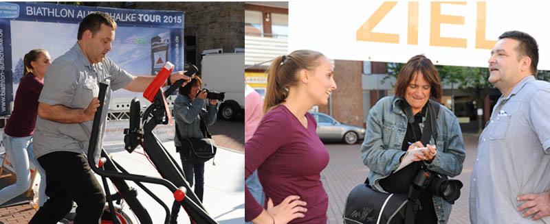 Die Presse macht sich ihr eigenes Bild an der Biathlonarena. Hier die Redakteurin der WAZ mit unseren Duellanten Julia und Olaf Geißler.