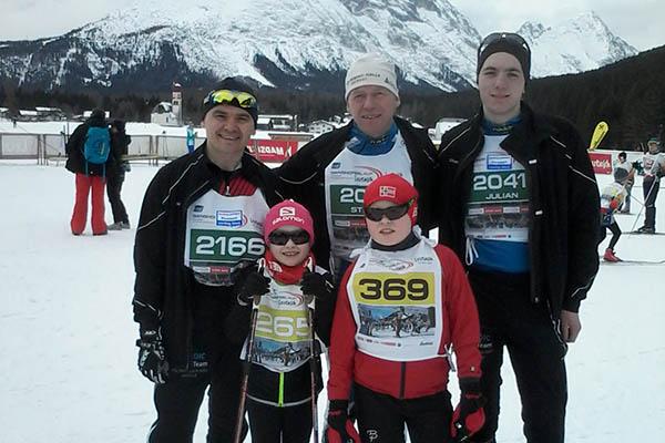 Viktor Koch (2166). Daneben: Stefan und Julian Puderbach. Vorne: Katherina und Michael Koch, die im Schülerlauf starten