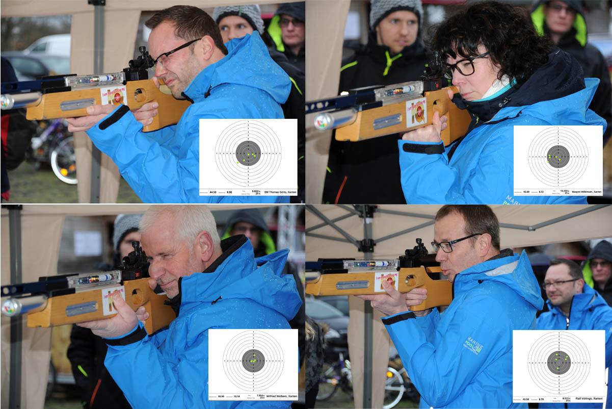 Team Xanten: 182,5 Ringe. Von oben links bis unten rechts: Bürgermeister Thomas Görtz (44,5 Ringe), Margret Willemsen (43,6 Ringe), Wilfried Welbers (50,9 Ringe), Ralf Völlings (43,5 Ringe).