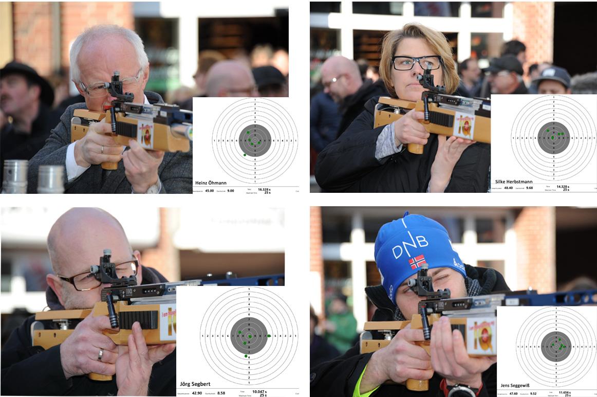 Für Ergebnisdetails bitte auf das Bild klicken. Oben links: Bürgermeister Heinz Öhmann; oben rechts: Silke Herbstmann; unten links: Jörg Segbert; unten rechts: Jens Seggewiß