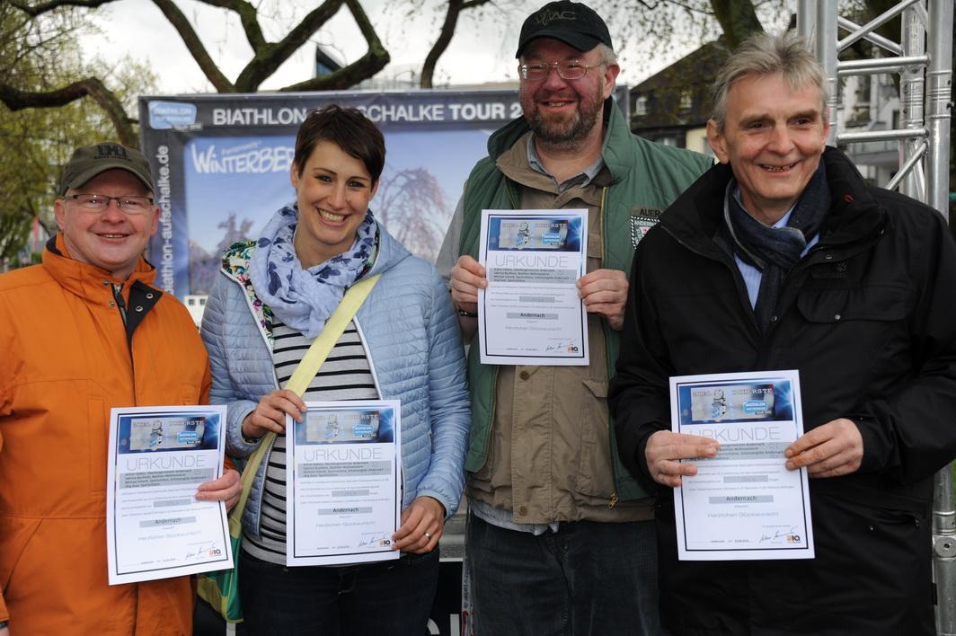 Das Team Andernach von links nach rechts: Michael Schenk, Sabrina Buchholz, Jörg Auer und Bürgermeister Claus Peitz